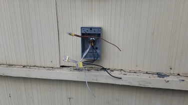 Code required outside weather resistant outlet.